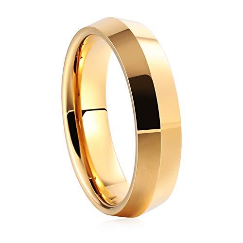Bishilin Wolframcarbid Herren Ring Wolframcarbidring Hochglanzpoliert Rund 6 MM Freundschaftsring Männer Partnerringe Gold Große 60 (19.1)
