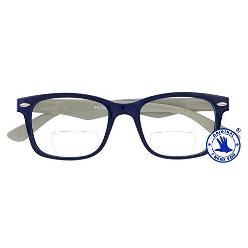 I NEED YOU Lesebrille Gatsby Bi-Fokal SPH:+2,50 Farbe:Blau-Grau