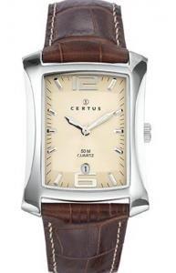 Certus-610536-Herrenuhr-Quarz-Analog Zifferblatt Beige-Armband Leder braun
