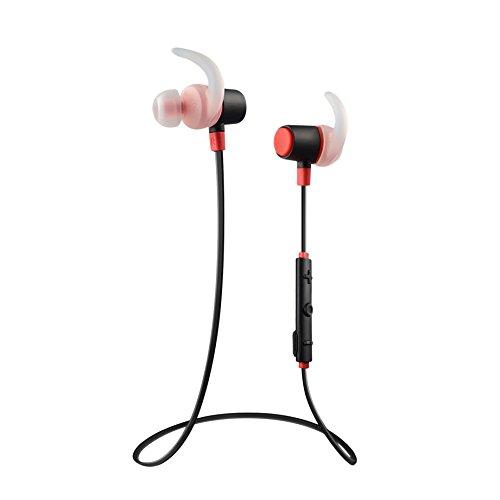 Penibel Thunder-Pro Sports Wireless Bluetooth Headset with APT-X Deep Bass High fidelity Audio with CVC 6.0 Noice reduction Sweatproof and splashproof ( Black & Red)