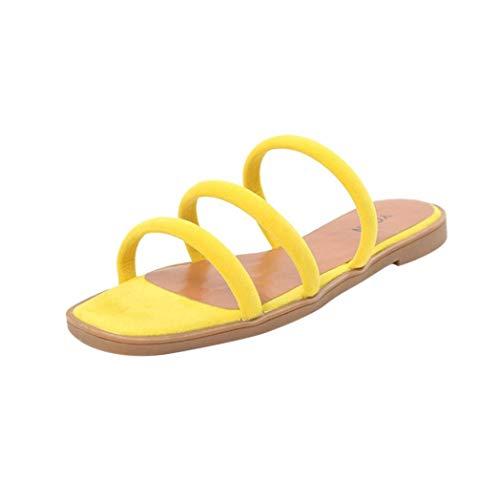 ZHRUI Frauen Flache Rom Sandalen für Frauen, Frauen Einfarbig Flache Ferse Sandalen, Strand Sandalen für Frauen Indoor Outdoor Flip-Flops, Riemen (Farbe : Gelb, Größe : 5 UK)