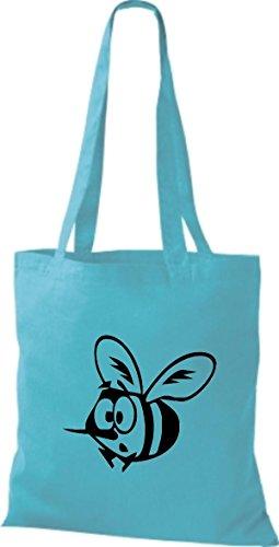Shirtstown Pochette en tissu Animaux d'abeille Bleu - sky