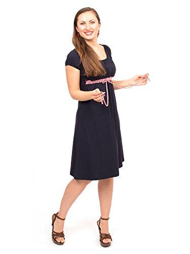 *Viva la Mama Stillkleid I 3in1 Umstandsmode Schwangerschaft Damen Umstandskleid Schwangerschaftskleid I Schwangerschaftsmode Kleid Stillzeit Schwangerschafts Sommer Kleid – ELLI – marineblau – M*
