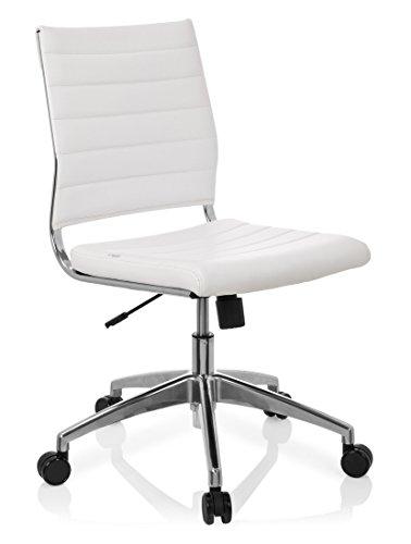 hjh OFFICE 720003 Profi Bürostuhl TRISHA Kunstleder Weiß moderner Drehstuhl ohne Armlehnen, gesteppte Polsterung - Weiße Gesteppte