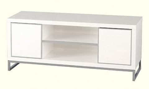 Charisma 2 portes et 1 étagère Meuble TV écran plat Blanc brillant/chromé