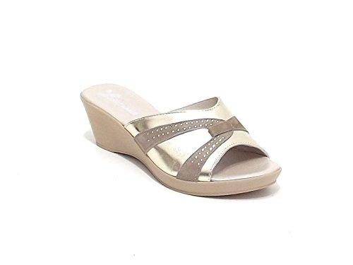 Susimoda scarpa donna, modello pantofola 151024, in pelle laminata e camoscio, colore platino