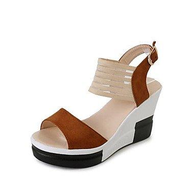 RUGAI-UE Estate Moda Donna Sandali Casual PU Scarpe comfort tacchi a piedi all'aperto,mandorla,US5.5 / EU36 / UK3.5 / CN35 Dark Brown
