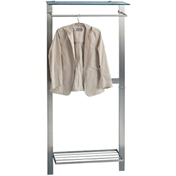 HomeTrends4You 809688 Garderobe, 80 x 190 x 33 cm, Metall Edelstahloptik