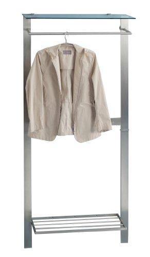HomeTrends4You 809688 Garderobe, 80 x 190 x 33 cm, Metall Edelstahloptik