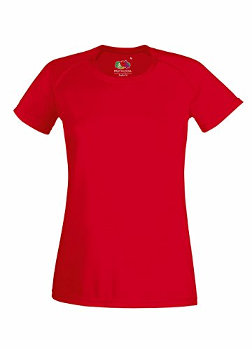 Fruit of the Loom Damen T-Shirt Performance T Lady-Fit Red