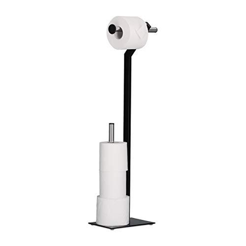 Freistehende Wc-rollenhalter (Relaxdays WC-Papierhalter stehend, Toilettenpapierhalter mit Reserverollenhalter, HxBxT: 72x23x13,5 cm, schwarz/chrom)