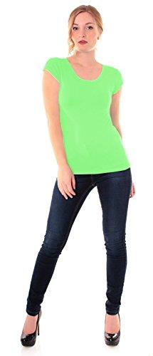 Easy Young Fashion Damen Basic T-Shirt Rundhals Slim Fit Einfarbig Apfelgrün