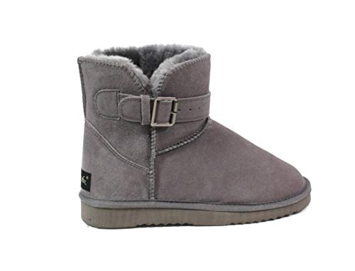 SUPER s6x Lammfell Stiefel kurz-Schaft Damen Stiefel Australisches Lammfell, Lammfell Short Boots Grau mit Grauen Lammfell, Rutschfeste Gummi Sohle, Grau, 39 EU