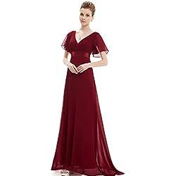 Ever-Pretty Robe de Soirée Longue Femme Col V Manches Courtes Bordeaux 52