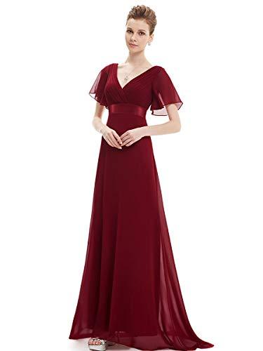 Ever-pretty vestito da damigella donna stile impero linea ad a scollo a v maniche corte lungo borgogna 54