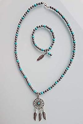 Parure, collier et bracelet : hématite, turquoise