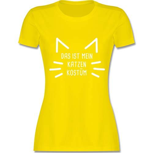 Karneval & Fasching - Das ist Mein Katzen Kostüm - M - Lemon Gelb - L191 - Damen Tshirt und Frauen - Faschingkostüm Katze Kostüm