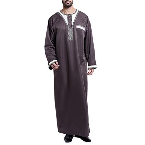 TEBAISE Kostüm Langarm Stehkragen Muslimische Dubai Robe-Sätze Muslim Abaya Dubai Islamisch Arabisch Indien Türkisch Casual Festlich Kaftan Robe Kleid Maxikleid Herren Männer Kaftan im Saudi-Stil