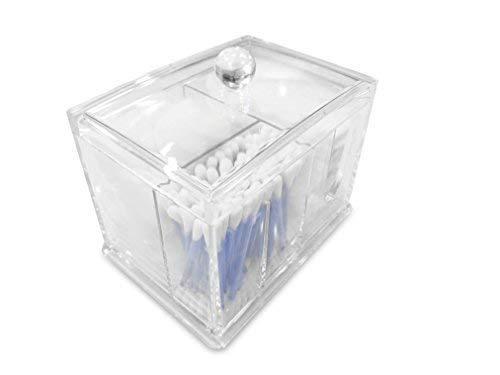 Oi Labels™ Transparent Acrylique Cosmétique Coton/Laine / Oreille Bourgeon / Support Distributeur (Haute Qualité avec 3mm Acrylique ) .