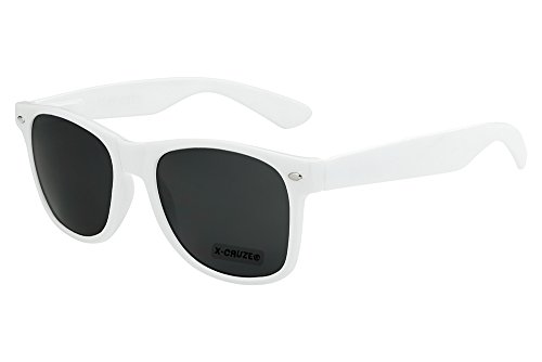 X-CRUZE® 8-004 X0 Nerd Sonnenbrille Style Stil Retro Vintage Retro Unisex Herren Damen Männer Frauen Brille Nerdbrille - weiß