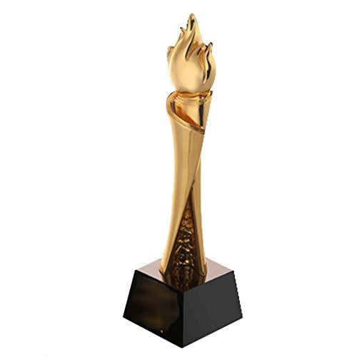 ATLT Trofei, medaglie Premi Xiaojinren Trofeo Libro Rotolo Fiamma Trofeo in metallo Personalità Nuovo cristallo Souvenir in lega di zinco placcato in oro,Oro,8 * 29cm