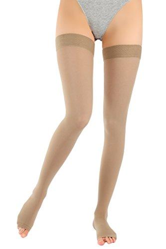 ®BeFit24 Abgestufte medizinische Oberschenkel-Kompressionsstrümpfe mit offener Spitze (18-21 mmHg, 90 Den, Klasse 1) für Damen und Herren – Nahtlose Stützstrümpfe für Flug und Schwangerschaft – Prävention gegen tiefe Venenthrombose, Krampfadern, Besenreiser, und geschwollene Beine - [ Größe 2 - Lang: A - Beige ] (Nahtlose Kurze Moderne)