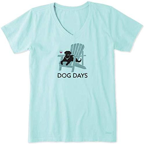 Life Is Good Damen T-Shirt mit V-Ausschnitt Dog Days, Damen, Crusher Vee Dog Days T-Shirt, Bermuda Blue, X-Large