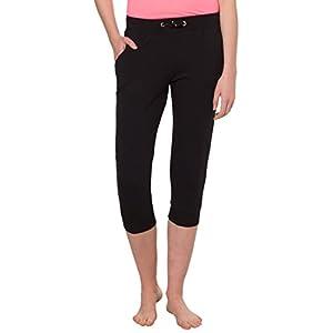 Ultrasport Damen Yogahose Vitalize – Yoga Capri Leggings – Sport Caprihose 3/4 lang – Sporthose elastisch für Pilates & Fitness Training, Schwarz