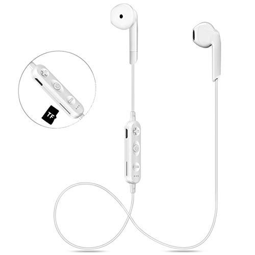 Bluetooth Kopfhörer Kabellos V4.2 in-Ear HiFi Wireless Headset mit TF-Karte Slot, IPX5 Wasserdicht Sport Drahtlose Ohrhörer für iPhone x 8 7 6 und Andere IOS Android Bluetooth-Gerät (weiß) - Hi-fi Bluetooth-kopfhörer