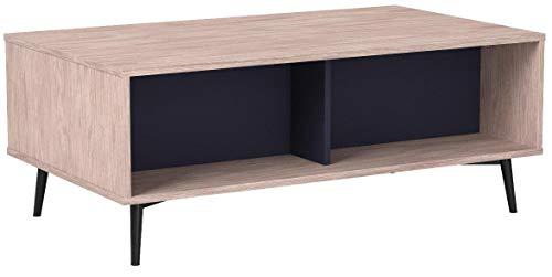 HOMCOM Couchtisch Beistelltisch Tischplatte höhenverstellbar ausklappbar Wohnzimmertisch mit Regal Staufach Holz Natur 100 x 58 x (39,3-52,7) cm