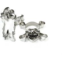 Städter 001770 - Set de cortadores de repostería (acero), diseño de pirata y calavera