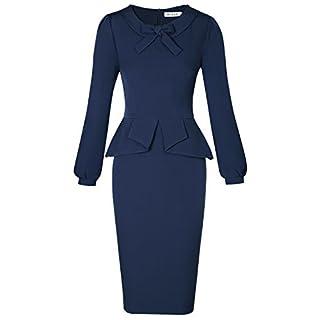 MUXXN Women's Elegant Vintage Lantern Sleeve Peplum Waist Formal Dress - Blue -
