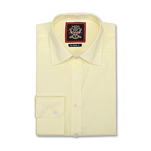 Janeo Mens Shirts - Chemise business - Uni - Manches Longues - Homme - jaune -