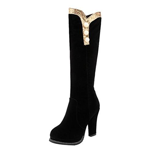 Genoux et a Fourrure Rond avec Bottines Noir de Mode Bloc Femmes Talons Chaud Bout Suede Elegantes UH Chaussures la qwf6xSXH