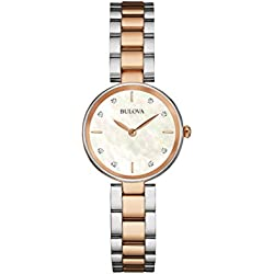 Bulova Ladies Women's Designer Diamond Watch Bracelet - Stainless Steel Rose Gold Wrist Watch 98S147