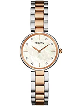 Bulova Diamond 98S147 - Damen Designer-Armbanduhr - Edelstahl - Roségoldfarben