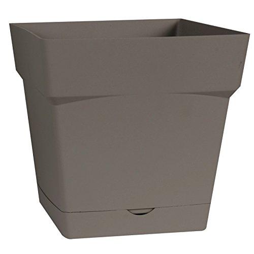EDA Plastiques Pot TOSCANE carré avec Soucoupe clipsée 13641 BR.T SX6 Taupe 17,4 x 17,4 x 17 cm
