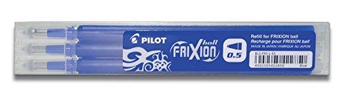 Pilot Pen 2276003F - Ersatzmine Frixion Clicker, Stärke 0.5 mm, 3 Stück, blau
