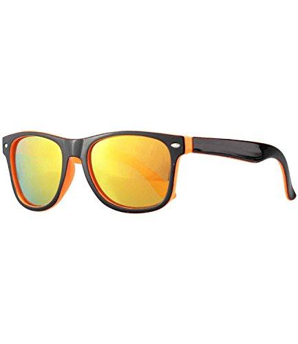 Caripe Kinder Mädchen Jungen Sonnenbrille Retro Design verspiegelt + getönt - barna (One Size, schwarz-orange - sun verspiegelt-two)