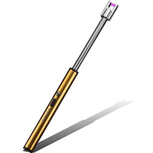 Zenghh USB Lade Winddicht Zündschläger Gasherd Kerzenanzünder Langer Mund Artefakt Gewehr Langer elektronischer Impuls LED-Licht Netzteil Anzeige Outdoor Home Optimization (Color : Gold) - Impulse Elektronische