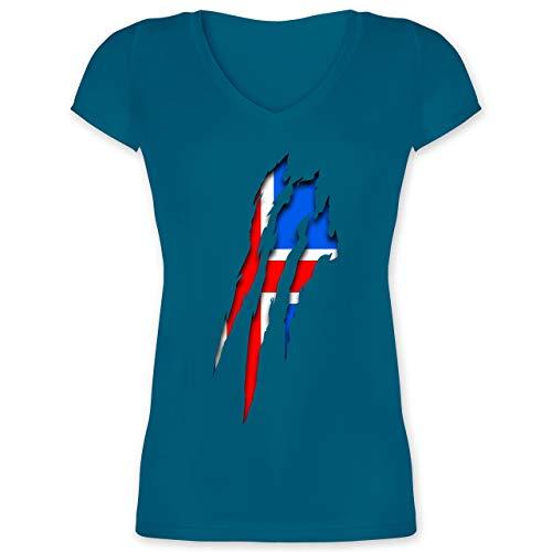 Länder - Island Krallenspuren - XL - Türkis - XO1525 - Damen T-Shirt mit V-Ausschnitt