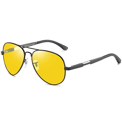 DUCO Herren und Damen Pilotenbrille Nachtfahrbrille mit Leichte Metallrahmen Nachtsichtbrille...