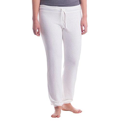 PLW Damen Hose Jogginghose Yoga Pilates Homewear, Größe:XS;Farbe:Weiß (Damen Flanell Lounge-hose)