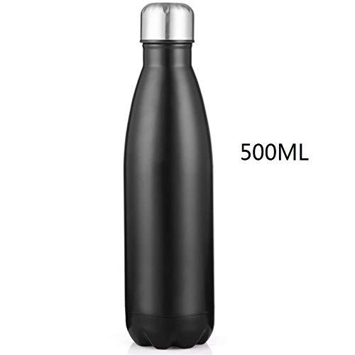DZSLTC Trinkflasche Edelstahl Wasserflasche,Vakuum Isolierte Trinkflasche Auslaufsicher Wasserflasche BPA-frei Sport Trinkflasche für Joggen Yoga@Schwarz_500ml