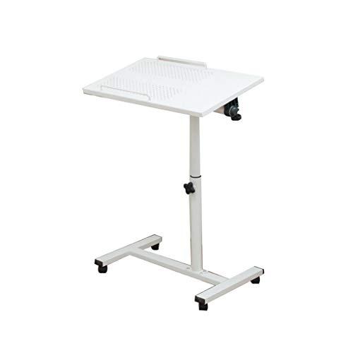 CYLQ Computer Tisch, Falten Laptop Stand, Bewegliches Heben, 360 ° Drehbares Panel, Tragbar Bett Tablett Studie Schreibtisch Stehlen, 2 Farben 63-90 cm (Farbe : Weiß) -