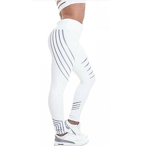 Yoga Hosen Damen, DoraMe Frauen Patchwork Mesh Yoga Leggings Fitness Sport Hosen Skinny Leggings (M, Weiß)