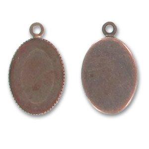 Castone pendente ovale retro piatto mm. 25x18 rame
