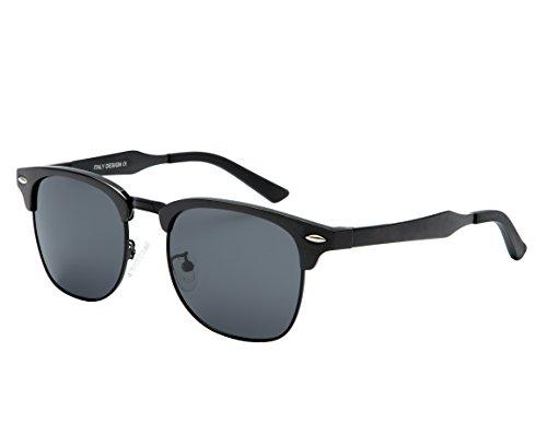Dollger Polarisierte Sonnenbrille Herren Horn umrandeten Halbrahmen(Schwarze Linse+Schwarzrahmen)