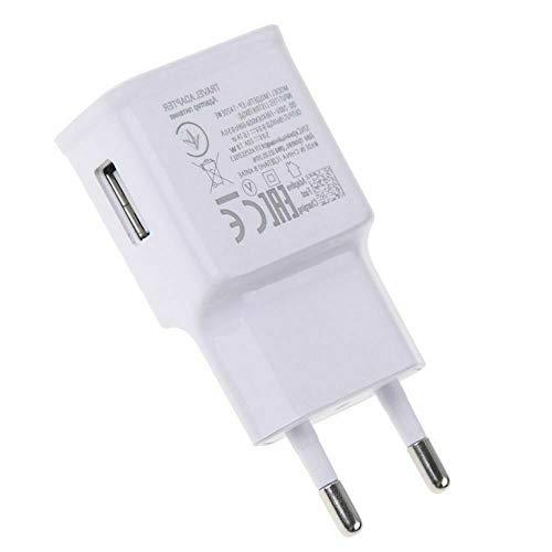 Caricatore alimentatore USB compatibile Samsung EP-TA20 adattabile, da 2 A  con tecnologia di carica rapida Fast Charging, colore: bianco, per Galaxy