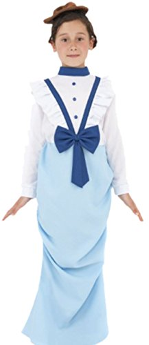 Karnevalsbud - Mädchen Kostüm Viktorianerin mit Kleid und Haarteil, 146/152, (Blau Kostüm Ara Kind)